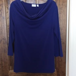 Kim Rogers royal blue cowl neck top XL